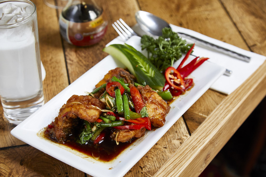 Pla Pad Char - Seabass fillet stir-fried with Thai herbs